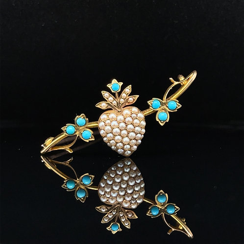 Antique Turquoise & Pearl Brooch 15ct Yellow Gold