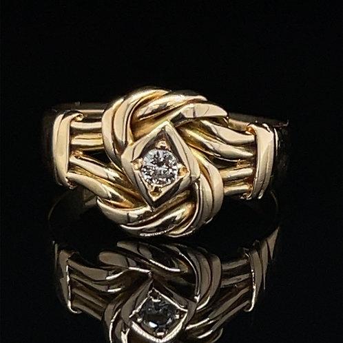 Diamond Knot Ring 18ct Yellow Gold