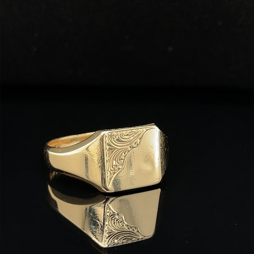 Square Engraved Signet Ring 9ct Yellow Gold Size X 1/2