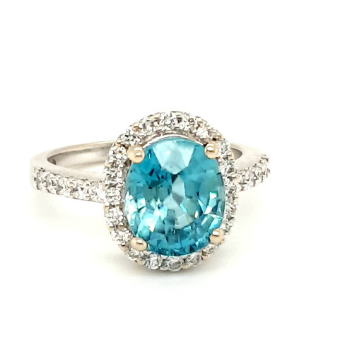 18ct White Gold Blue Zircon & Diamond Halo Cluster Ring