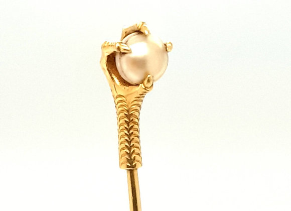 Claw Motif with Pearl 18ct Gold Stick Pin