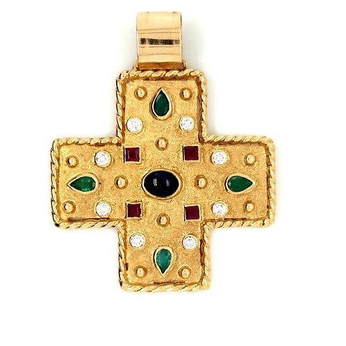 Etruscan Style Gemstone Cross 18ct Gold