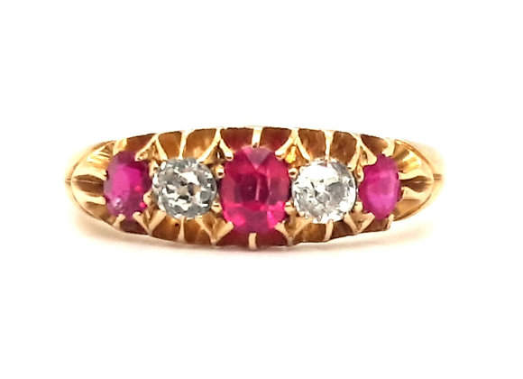 Vintage Ruby and Diamond Ring 18ct Gold