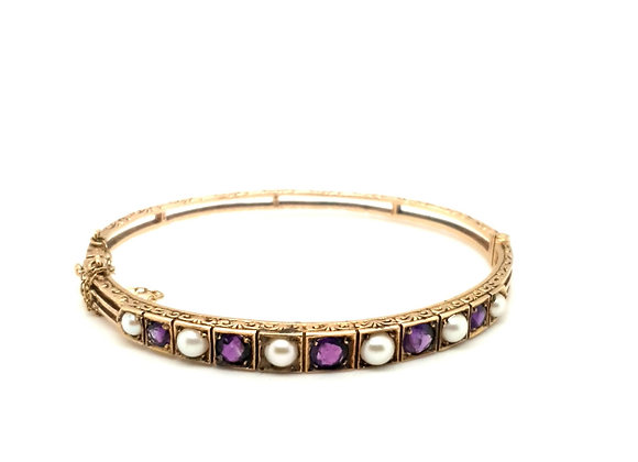 Amethyst and Pearl Edwardian Bangle set in 9ct Yellow Gold