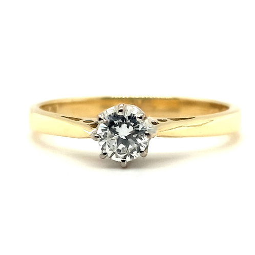 Classic Style Solitaire Engagement Ring 18ct Gold 0.25 Carat