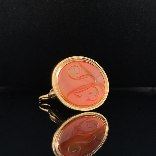 Antique Carnelian Seal Fob 9ct Yellow Gold
