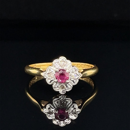 Gold Flower Shaped Ruby & Diamond Cluster Ring 18ct Gold