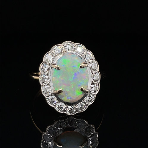 Opal and Diamond Cluster Ring 18ct Gold