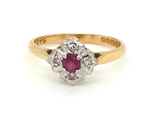 18ct Yellow Gold Flower Shaped Ruby & Diamond Cluster Ring