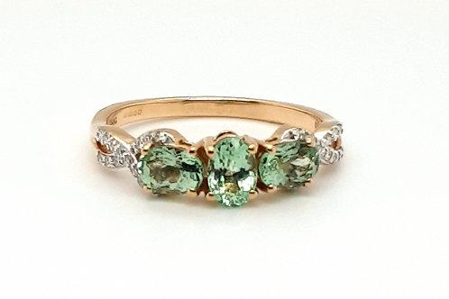 PARAIBA TOURMALINE & DIAMOND STATEMENT RING 9CT YELLOW GOLD SIZE S US SIZE 9 1/2