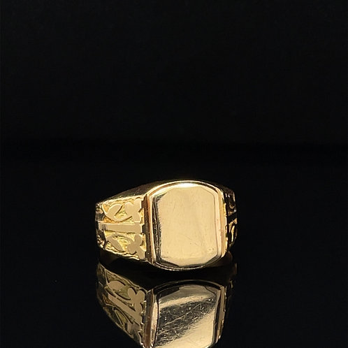 Art Nouveau French Signet Ring 18ct Gold