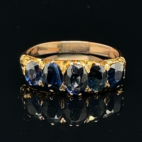 Five Sapphire Half Carved Hoop 9ct  Yellow Gold
