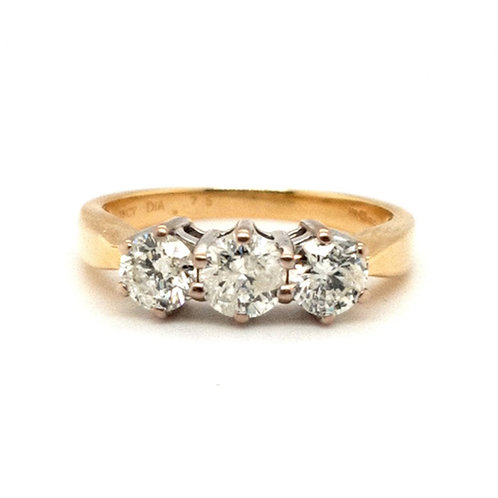 Diamond Trilogy Ring 18ct Yellow Gold