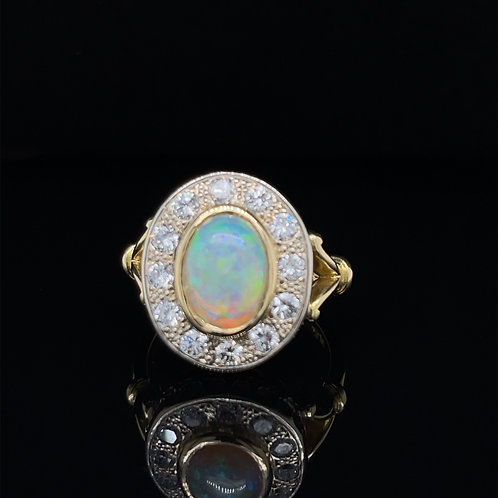 Large Opal and Diamond Cluster Ring 18ct Gold
