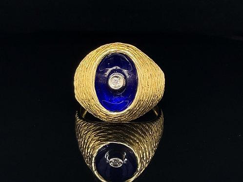 Bespoke Diamond & Enamel Ring 18ct Yellow Gold