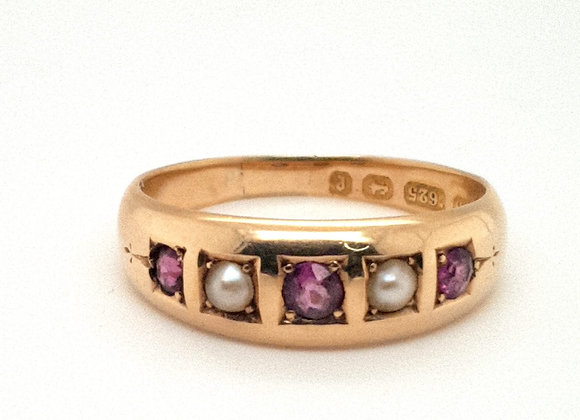 Late Victorian Amethyst & Pearl Ring