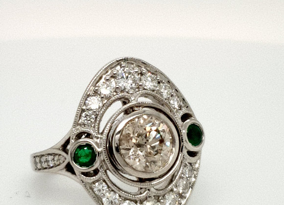 Diamond and Emerald Platinum Ring