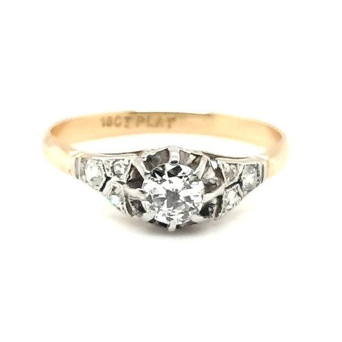Art Deco Diamond Engagement Ring 18ct & Platinum
