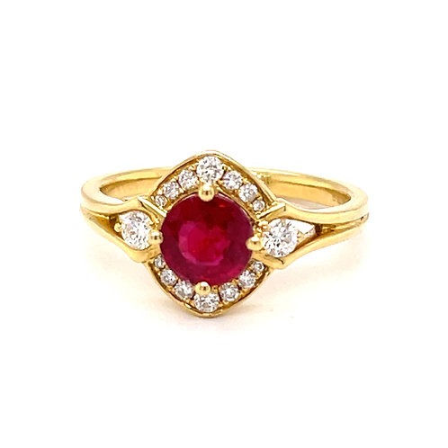Fancy Cluster Ruby and Diamond Ring 18ct Gold