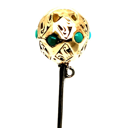 Turquoise 9ct Gold Stick Pin