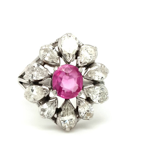 Large Ruby & Diamond Cluster Ring 18ct Gold