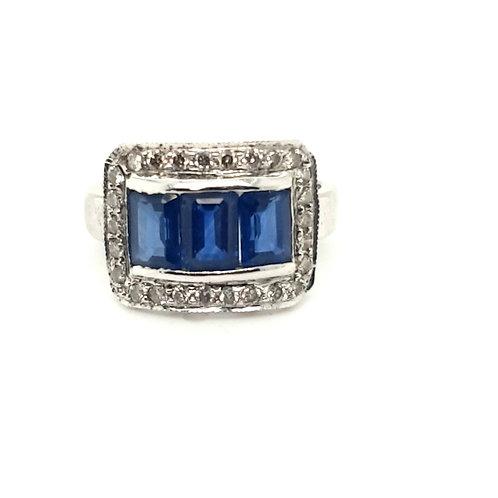 Sapphire and Diamond Statement Ring 18ct Gold