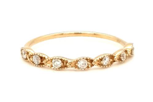 Vintage Style Diamond Band 18ct Yellow Gold