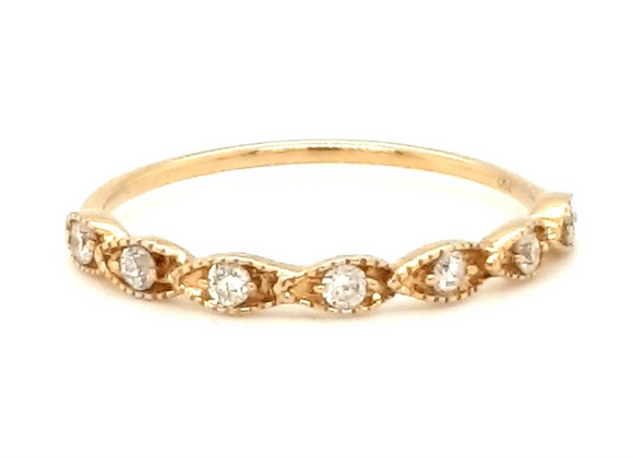 Vintage Style Diamond Band 18ct Yellow Gold