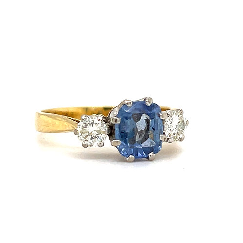 Cushion Cornflower Sapphire and Diamond Ring 18ct Gold