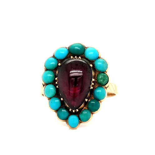 Georgian Amethyst and Turquoise Cluster Ring