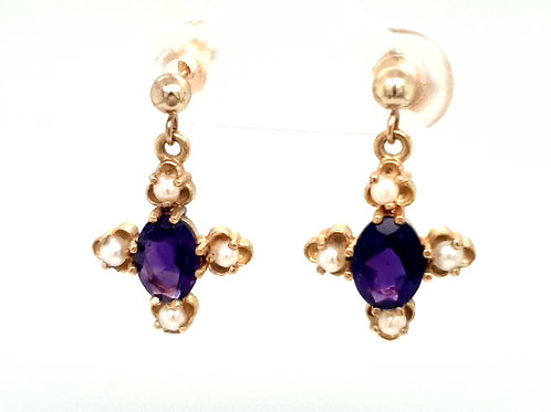 Amethyst and Pearl Earrings 9ct Gold