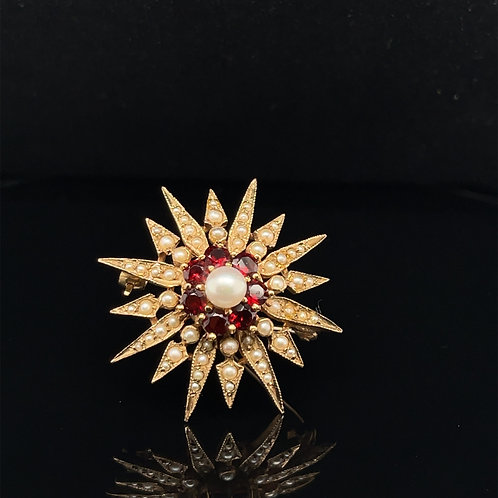 Garnet and Pearl Brooch 9ct Yellow Gold