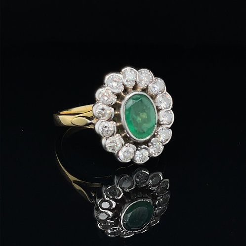 18ct Yellow Gold Oval Emerald & Diamond Cluster Ring