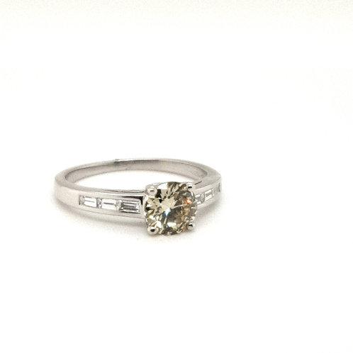 Yellow Diamond Platinum Ring with Baguette Diamonds