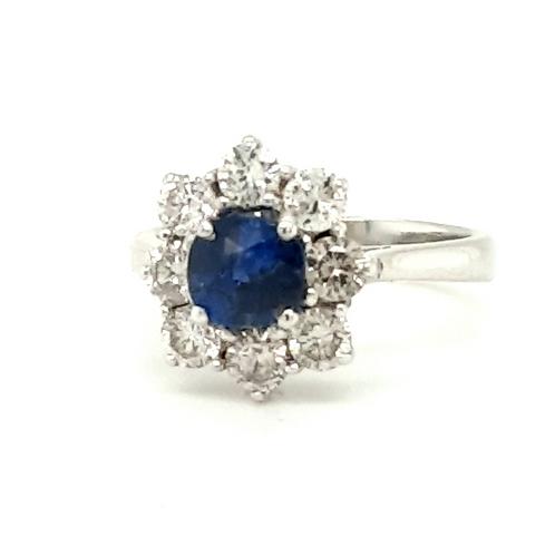 Cushion Shape Sapphire & Diamond Cluster Ring 18ct Gold