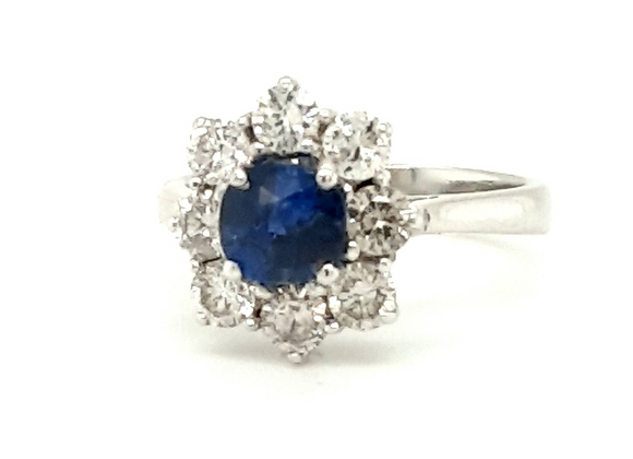 Cushion Shape Sapphire & Diamond Cluster Ring 18ct Gold
