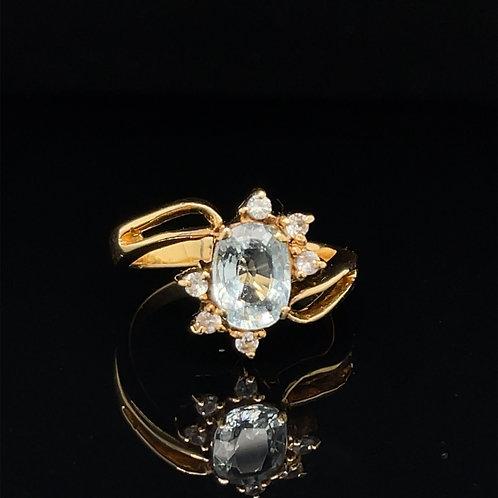 18CT 18K OVAL AQUAMARINE RING WITH 6 DIAMONDS RING SIZE M BESPOKE DESIGN