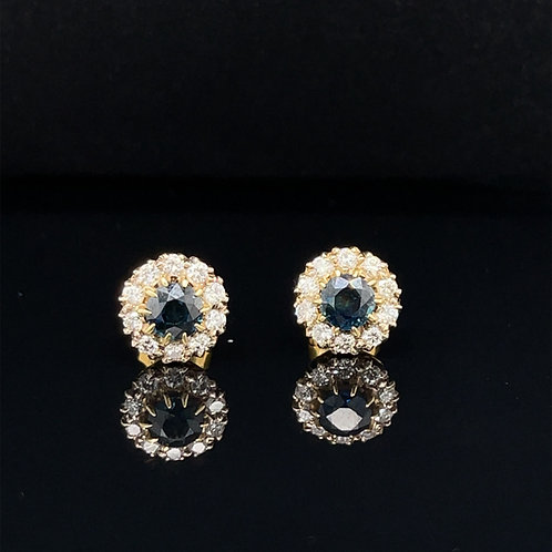 Teal Sapphire and Diamond Earrings 18ct Gold