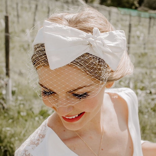 Handmade Real Silk Bow Headband with Birdcage Veil