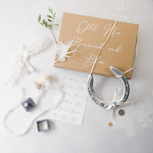 Letterbox Friendly Personalised Old New Borrowed Blue Bridal Gift Set Bridal Kee