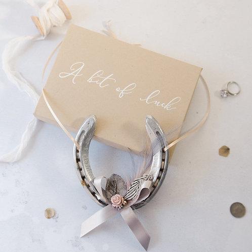 Personalised Letterbox Grey Feathered Lucky Wedding Horseshoe Gift Bridal Gift B