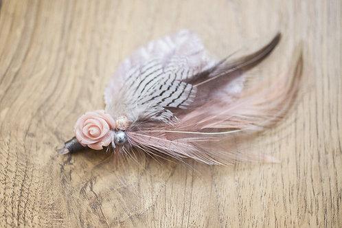 Grey and Blush feather and Rose Keepsake/Everlasting Wedding Buttonhole