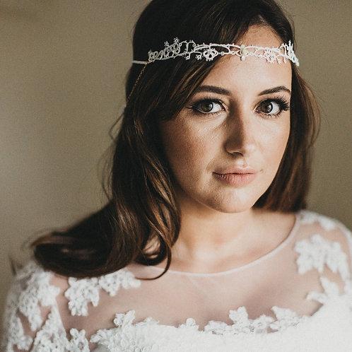 Florrie handmade tatted lace beaded bridal headband halo- blush ivory