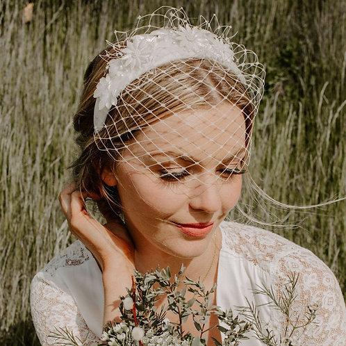 Embellished Statement Headband Birdcage Wedding Veil