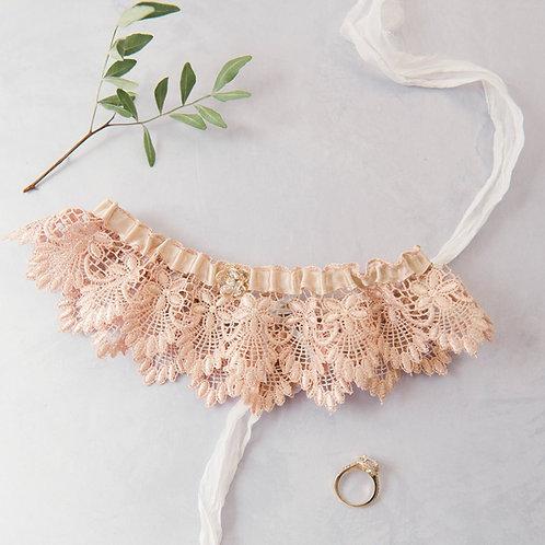 Blush or Ivory Deco Style Lace Wedding Bridal Garter