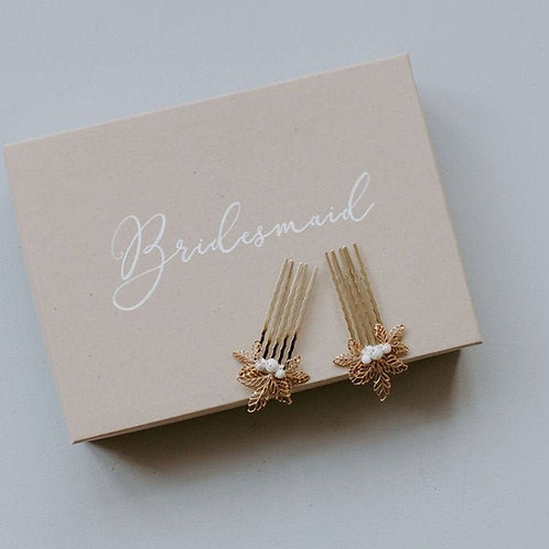 Gold Leaf Pair Of Mini Bridal Or Bridesmaid Haircombs