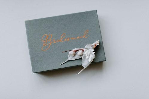Silk Honesty Lunaria Foliage Handmade Bridal Bridesmaid Hairclip Ivory or Grey