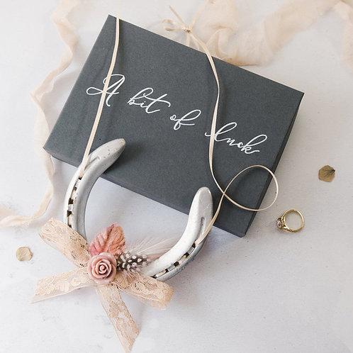 Personalised Letterbox Blush Lucky Wedding Horseshoe Gift Wedding Keepsake Anniv