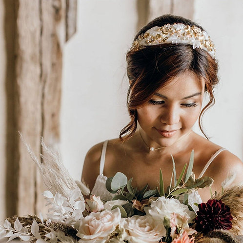 Gold and Ivory Rose Gold and Ivory Embellished Statement Headband