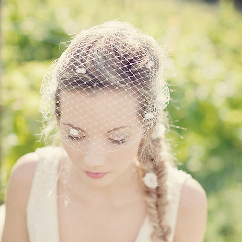 Pearl Cluster Birdcage Wedding Veil ivory or colours